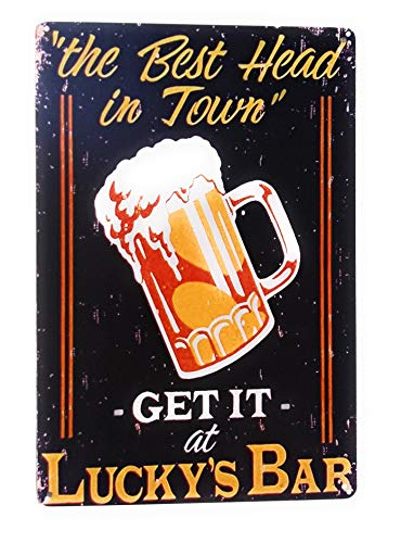 The Best Head in Town Get It at Lucky's Bar Metal Tin Sign, Business Sign, Bar Sign, Pub Sign, Club Sign, 8-inch by 12-inch Sign | TSC450 |