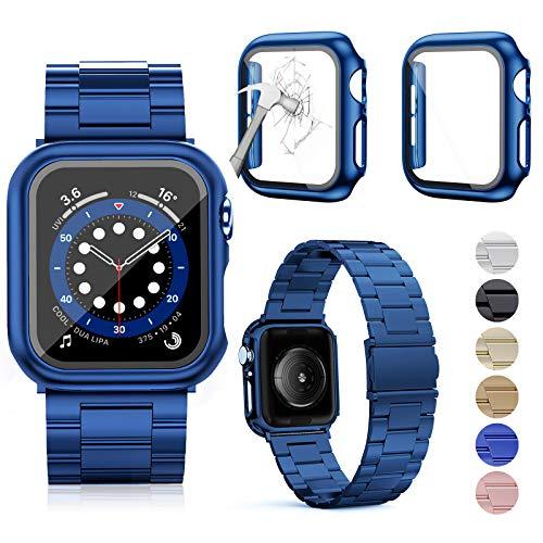 OMEE Correa de Metal para Apple Watch Correa 44mm 40mm 42mm 38mm, Correa de Repuesto de Metal de Acero Inoxidable Premium, Correa Comercial Compatible con iWatch Series 6/5/4/3/2/1/SE