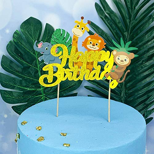 QIYNAO Woodland Jungle Animals Happy Birthday Cake Toppers –Birthday Party Cake Decoration Supplies Props for Baby Shower