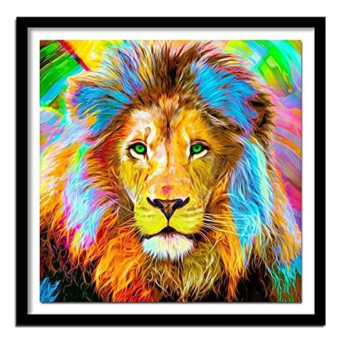 ZXXGA 5D DIY Kit de Pintura de Diamantes león Animal Adulto DIY Pintura de Diamantes Punto de Cruz decoración de la Pared del hogar Arte Trabajo Diamante Redondo 40x40cm