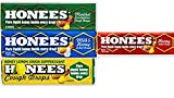 Honees Honey Drops 4 Flavor Variety Bundle (Pack of 16) 4 of each: Milk & Honey, Honey Menthol, Honey Lemon, Honey Filled