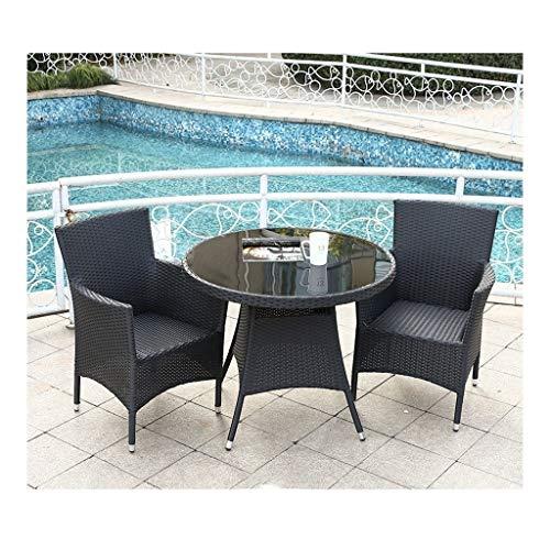 Muebles de vida al aire libre Rattan Muebles de jardín Conjunto Negro, los muebles del patio del jardín de tabla y sillas de cristal Mesa de café Mesa de Conversación Conversación Patio al aire libre