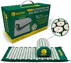 At Home Back and Neck Pain Relief - Acupressure Mat and Neck Pillow Set - Relieves Stress and Sciatic Pain for Optimal Health and Wellness - Comes in a Carry Box with Handle for Storage and Travel