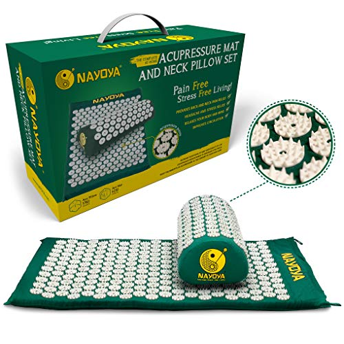 Nayoya Back and Neck Pain Relief - Acupressure Mat and Pillow Set - Relieves Stress, Back, Neck, and...
