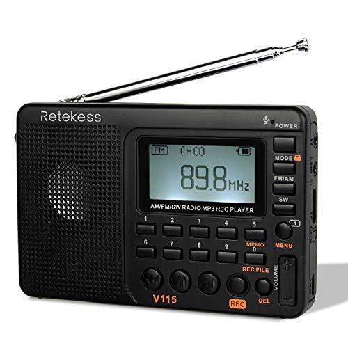 TIVDIO V-115 - Radio de transistores portátil de Onda Corta Am/FM estéreo con Reproductor de MP3 y grabadora, soporta Tarjeta T-Flash y Temporizador de Apagado (Negro)