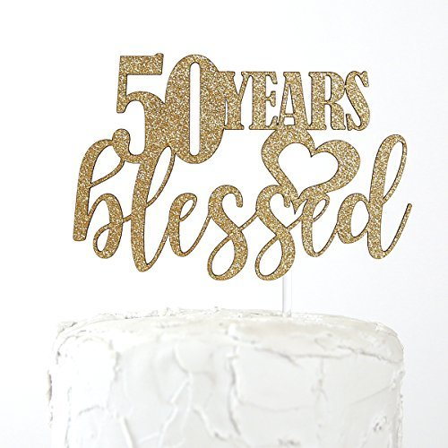 Queen54ferna 50th Birthday Cake Topper - 50 jaar gezegend - Premium kwaliteit Made in USA, Gold Glitter