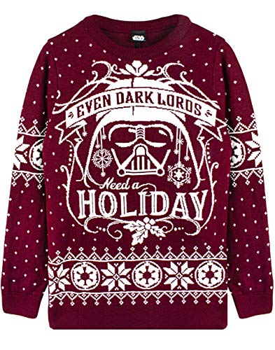 Darth Vader Maglione Unisex Rosso Lavorato Maglia di Star Wars Christmas Jumper