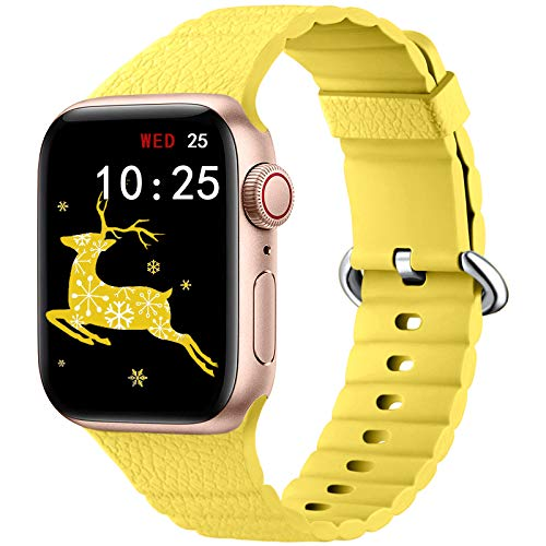 Oielai Silicone Cinturino Compatibile con Apple Watch Cinturini 40mm 44mm 38mm 42mm, Sportivi Ricambio Morbido Cinturino Compatibile per Apple Watch Series 6/5/SE/4/3/2/1, 42mm/44mm Giallo