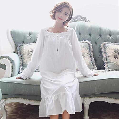 XFLOWR Ropa de Dormir Otoño Mujeres Ropa de Dormir Coreano Encantador Blanco Manga Larga Princesa Camisón Algodón Retro Tallas Grandes Pijams Sueltos Suaves