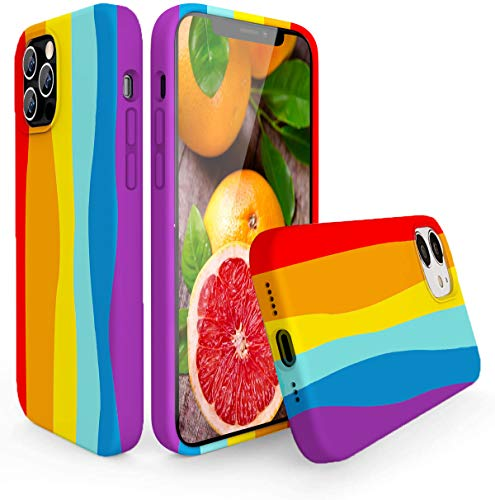 Rongda Cute Rainbow Case Compatible with iPhone 12 pro max (6.7),Colorful Liquid Silicone Full-Body Shockproof Protective Cover for Women and Girls.…
