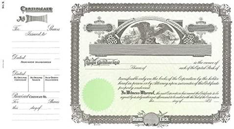 Financial sales shop sale Goes 9 Stock Certificate Pack of - 25
