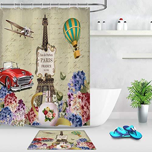 ZZ7379SL Romantic Paris Retro Car 3D digital printing bathroom curtain set waterproof and mildew proof