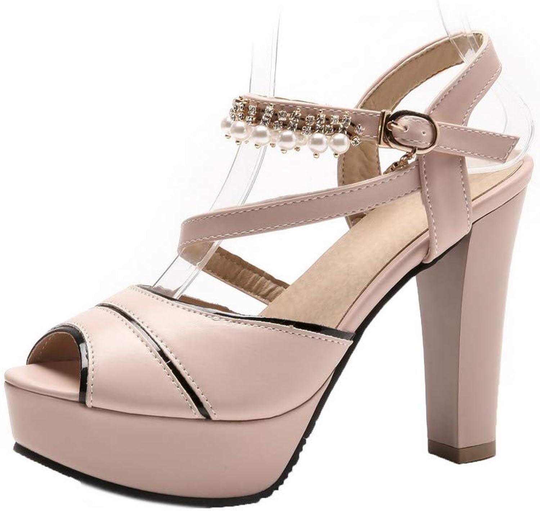 WeiPoot Women's Open-Toe High-Heels Pu Solid Buckle Sandals, EGHLH007325