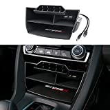 Thenice for 10th Gen Civic Central Console Storage Box Coins Trays Cards Organizer with USB Extension Cable for Honda Civic Sedan 2016 2017 2018 2019 2020