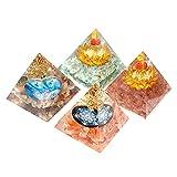 LVYAN 1 Uds, Hecho a Mano, de Resina Colorida, Chakra de Cristal, gravas, Torre de Piedra, Adornos de pirámide epoxi