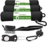 ToVii Golf Towel Microfiber Waffle Pattern Club Groove Cleaner Brush Foldable Divot Tool with Magnetic Golf Gifts Accessories Set Black