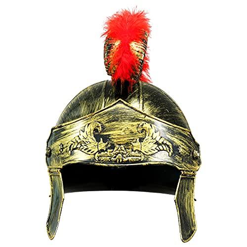 iiniim Casco de Espartano Romano de Plástico con Penacho de Plumas de Rojo Accesorios para Disfraz de Cosplay Color Dorado Plata Oro&Rojo One Size