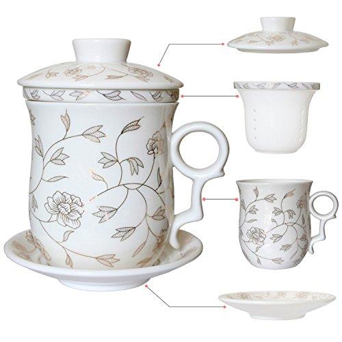 Hollihi Tasse en porcelaine avec couvercle, soucoupe et infuseur, tasse à thé chinoise en porcelaine de Jingdezhen, idéale pour café ou feuilles de thé, pour la maison ou le bureau