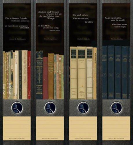 4er Set Ordnerrücken für breite Ordner Bücher 1-4 Lexikon Aufkleber Etiketten Deko AJ 050