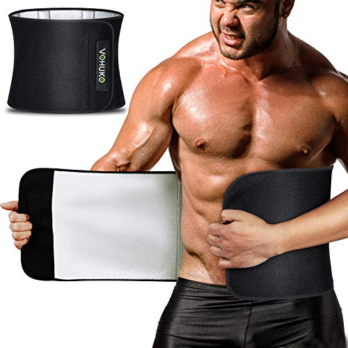 Waist Trimmer for Men,Widening Sweat Belt for Weight Loss,Improving Material Waist Trainer with Flexible Back Support for Fitness (L /28-41 inch) Black