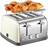 4 Slice toaster, Retro Bagel Toaster Toaster with 7 Bread Shade Settings, 4 Extra Wide Slots,...