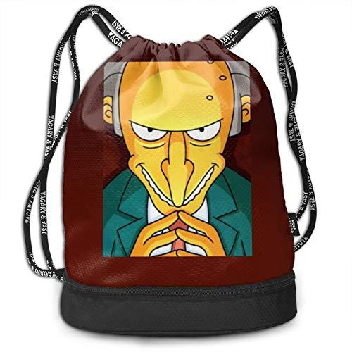 CrazyCoolArt Simpsons Mochila con cordón Mochila portátil para viajes de ocio o de almacenamiento de hombro Bolsas de 35 x 16 pulgadas