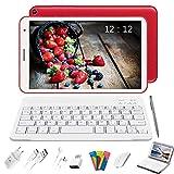 Tablet 8 Pulgadas Baratas y Buenas, 2 in 1 Tablet con Teclado 3GB de RAM y 32 GB de Memoria Escalable 128GB, 4G WiFi Tableta Android 10 Tablet PC 1.6GHz / Bluetooth/OTG/Ratón/Quad-Core (Rojo)