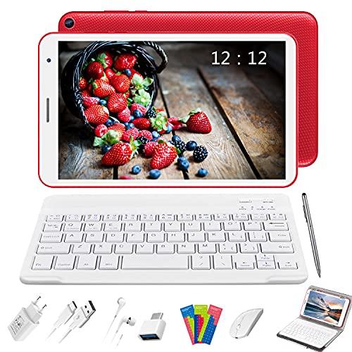 Tablet 8 Pollici con Wifi Offerte, Android 10.0 Tablets RAM 3GB | 32GB Espandibile 128GB (Certificazione GOOGLE GMS), 5000mAh Tablet PC Quad-Core 1.6 GHz Table PC Offerta Del Giorno (E8+, rosso)