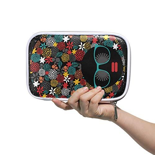 LUPINZ Make-up-Tasche für Frauen, Hippie, schwarzer Kopf, Frau mit seltsamem Haar, Stifteetui, Make-up-Pinsel-Taschen, Reise-Set, Organizer, Kosmetiktasche