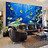 Gwgdjk Sea World 3D Cartoon Wandbilder Wallpaper Für Kinder Kinderzimmer 3D Wall Po Wandbild Fresko Für Restaurant 3D Wandbilder-140X100Cm (56 * 40Inch)