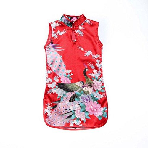 Vestido Del Qipao Clásico Cheongsam Chino Del Pavo Real Floral para Niñas Muchachas Chicas - Rojo(Estilo B), # 4