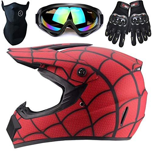 potente para casa WWtoukui Spider Casco, casco de motocross, casco todoterreno y guantes para adultos, máscara,…