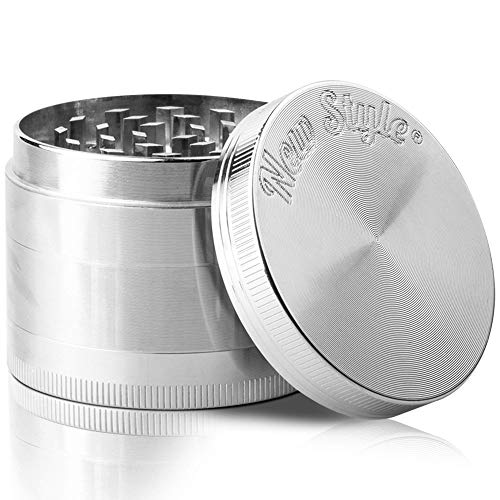 NEW STYLE Grinders | Best Herb & Spice Grinder With Pollen Catcher | Spice Mill With Mini Spatula | Shredder & Crusher | 4-Piece | 2' Inch | Silver