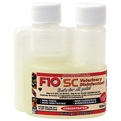F10SC veterinario desinfectante seguro para todos los Mascotas Perros, Gatos, aves, reptiles, 100ml Concentrado