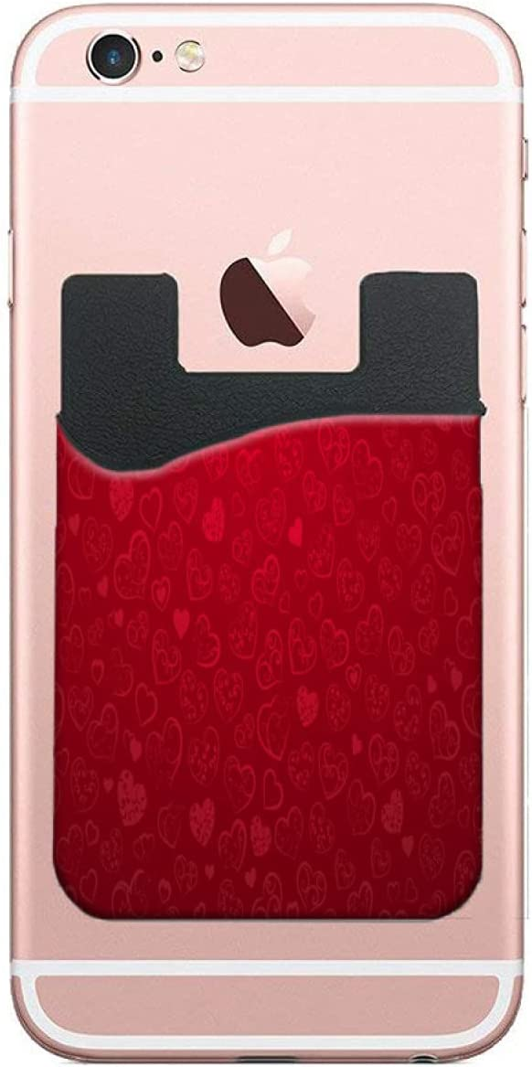 ZXZNC Card 1 year warranty Holder for Back of Red Ranking TOP3 Hearts Love Phone Sweet Leathe