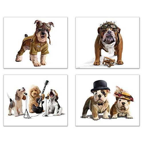 Summit Designs Vintage Singing Hipster Dogs Wall Art Prints - Set of 4 (8x10) Unframed Poster Photos - Bulldog Jack Russel Beagle