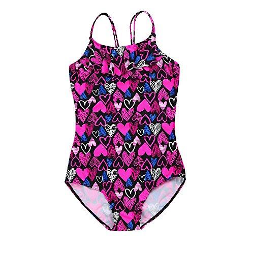 Enfants Volants Maillot de Bain PANPANY Fille Coeur Imprimer Une pièce Bikini Gamins Sling Jumpsuit Halter Couleur vêtements de Plage pour 18mois-6Ans