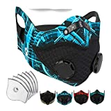 Axsyon Hybrid Dust Mask with earloops - 6 activated carbon filters & 6 sponies- for Work, Cleaning, Woodworking, Mowing, Gym Workout, Cycling, Running.