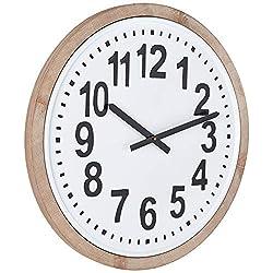 Creative Co-Op Wood Framed Round Metal Wall Clock