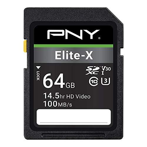 PNY 64GB Elite-X Class 10 U3 V30 SDXC Flash Memory Card - 100MB/s, Class 10, U3, V30, 4K UHD, Full HD, UHS-I, Full Size SD