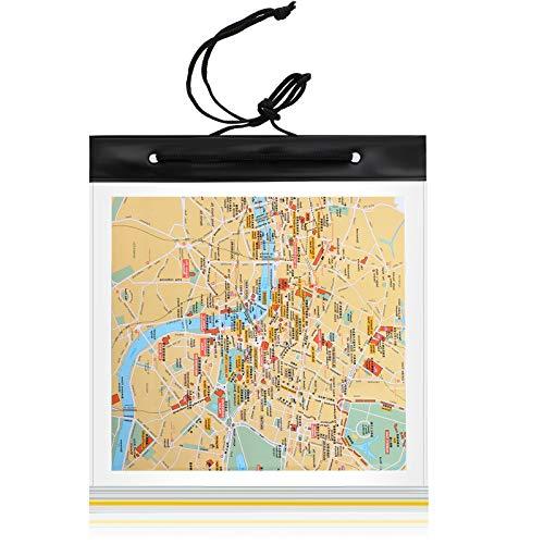 Sumind Wasserdicht Karten Etui Transparente Karten Abdeckung Camping Karten Beutel PVC Wander Kartenhalter mit Klarem Fenster und Halsriemen zum Wandern, Camping, 31 x 28 cm