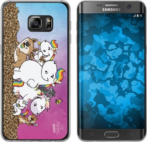 Pummel & Friends - Handyhülle kompatibel mit Samsung Galaxy S7 Edge - Pummeleinhorn & Friends