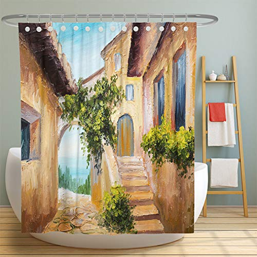 MuaToo Duschvorhang, Marmor-Textur, Hintergr& Bedruckt, Polyester-Stoff, Badezimmer-Dekor-Set mit Haken, 183 x 183 cm 72
