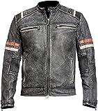 Café Racer Ridding Jacket con acolchado – malla motocicleta motorista – chaqueta de verano, Chaqueta de piel con acolchado, M