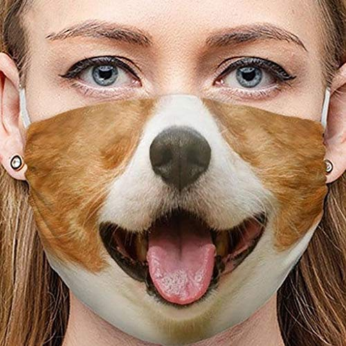 [Ship from USA] Adult Funny Dog Print Face Bandanas Fabric Scarf Washable Breathable Reusable Balaclava for Festival (A)