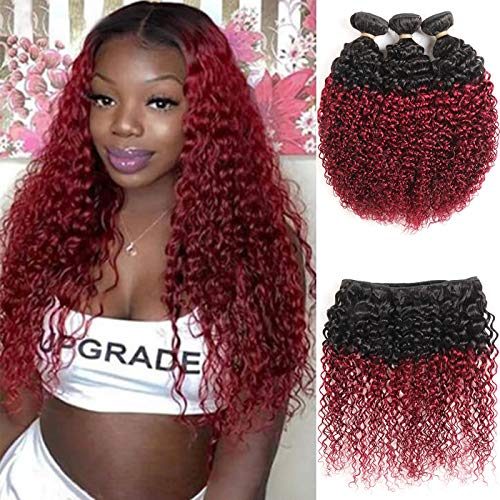 Burgundy curly weave _image4