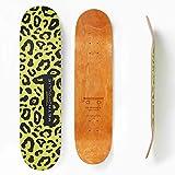 Metropollie Tabla de Skate Leopardo Animal Print, Skate para Niños Niñas Adolescentes Adultos Principiantes, Tabla de 7 Capas 100% Madera de Arce Canadiense Hard Rock