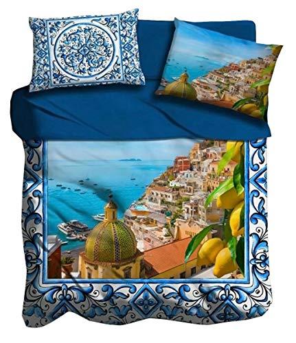 I love sleeping Lenzuola 2 piazze Matrimoniale in Cotone Digitale 3D Costiera Positano