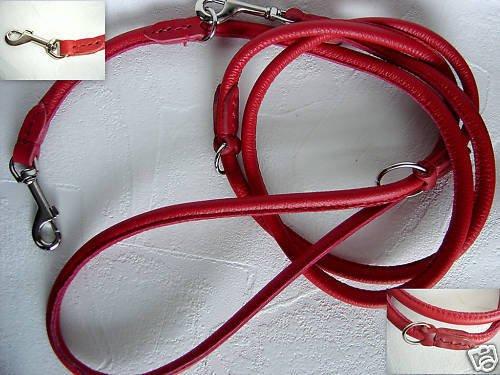 Lusy011 Luxus HUNDELEINE, RundeLeine, 220cm/6mm, Echt Leder, Rot 3X verstellbar(PL.19-9-9-50)