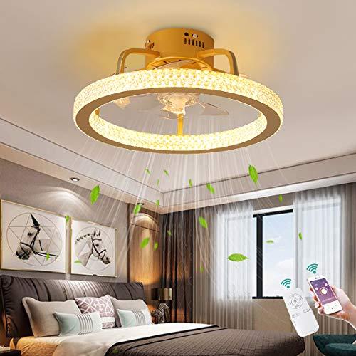 TATANE Silencio Ventilador de Techo con Encendiendo LED Ligero 48W Lujo Cristal Lámpara de Techo con Mando a Distancia y App Atenuación Moderno Invisible Ventilador Sala Cuarto Lámpara Los 50C